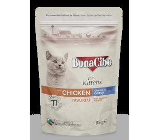 בונה סיבו פאוץ לחתול קיטן עוף-נתחים בגרבי 85 גרם