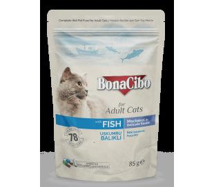 בונה סיבו פאוץ לחתול בוגר דגים-נתחים בגרבי 85 גרם