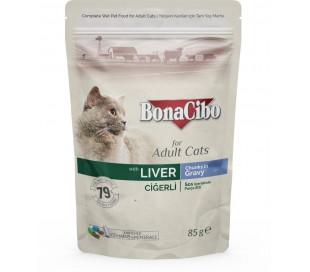 בונה סיבו פאוץ לחתול בוגר כבד-נתחים בגרבי 85 גרם