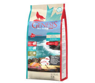 """ג'נסיס כלב ובגר 2.27 ק""""ג ללא דגנים - Genesis BLUE OCEAN מזון יבש לכלב בוגר"""